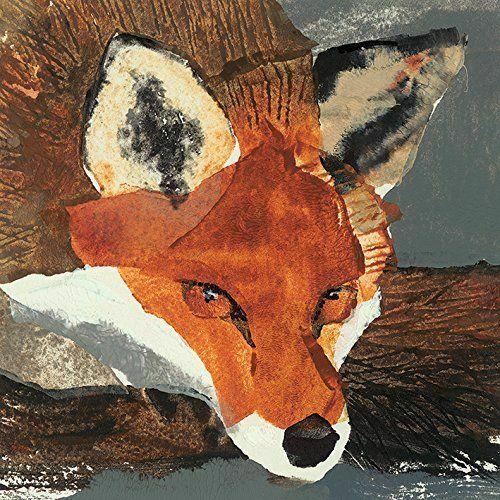 """Julia Burns Nadruk na płótnie """"Fox"""", bawełna, wielokolorowy, 3,20 x 40,00 x 40,00 cm"""
