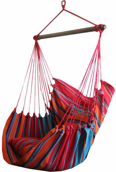 Leżak hamakowy, niebiesko-czerwony HCXL
