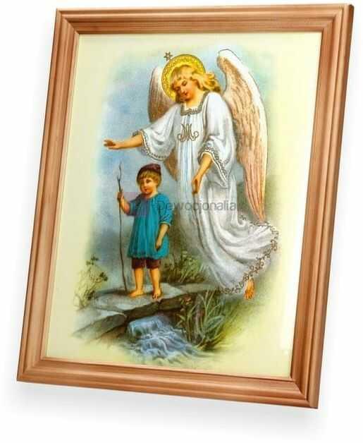 Obraz Anioł Stróż - chłopiec nad stumykiem 27x23
