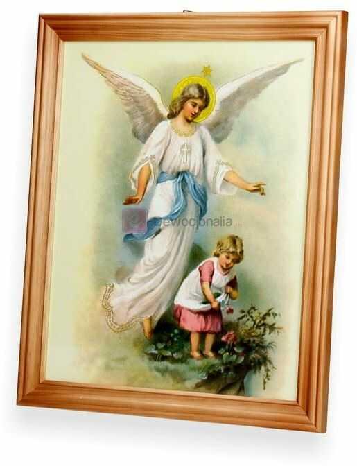 Obraz Anioł Stróż czuwa nad dziewczynką 27x23