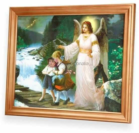Obraz Anioł Stróż - dzieci na mostku poziomy 27x23