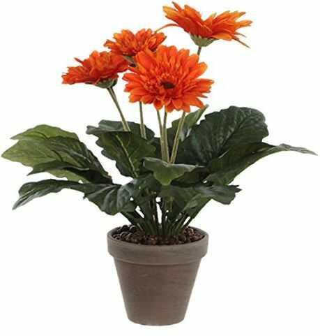 Mica decorations sztuczna roślina, poliester, pomarańczowy, wys. 35 x śr. 30 cm