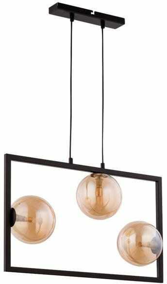 Lampa sufitowa wisząca ramka COSMIC 3 ZWIS czarny/bursztynowy 32122