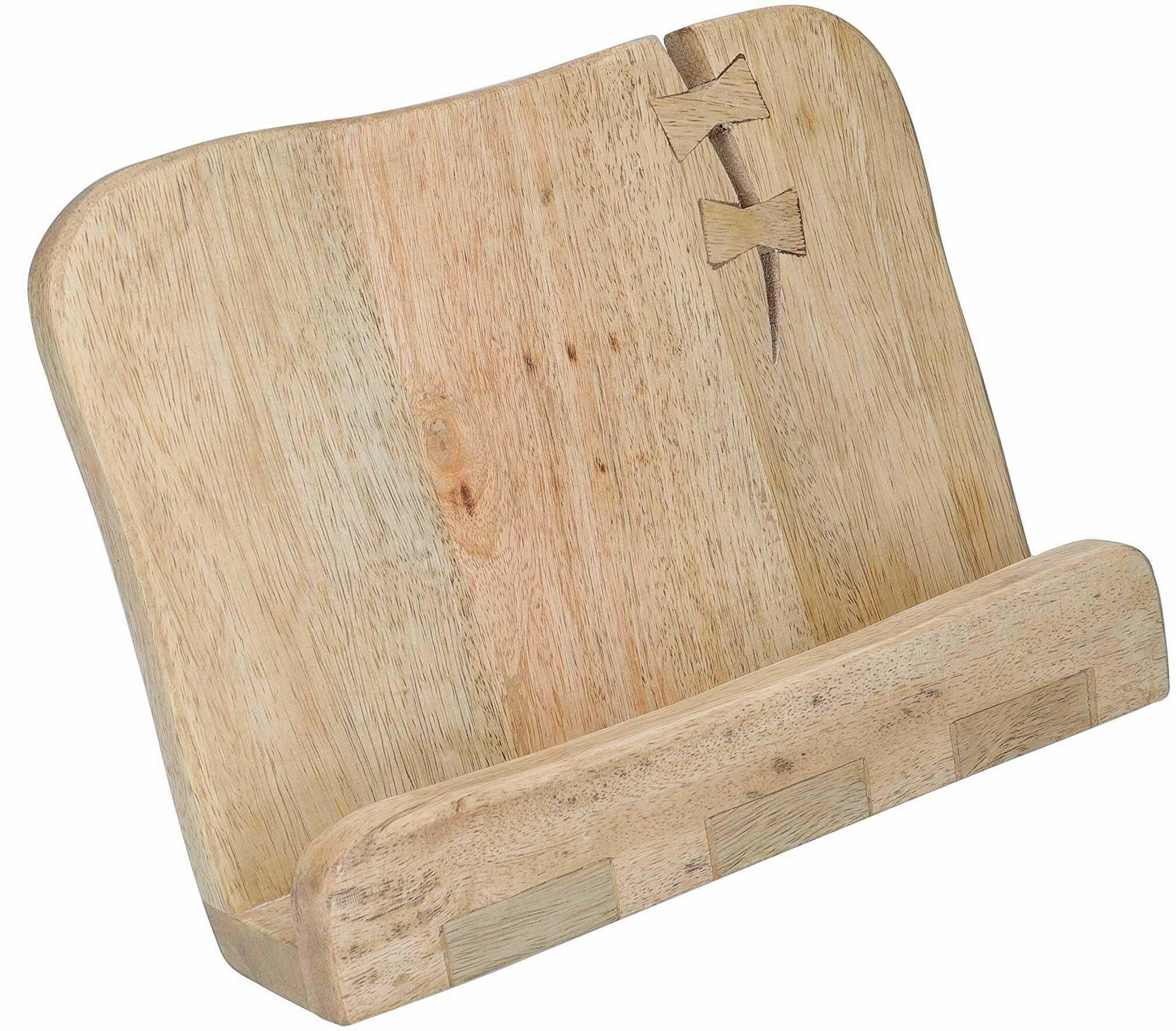 KitchenCraft Serenity Wabi Sabi stojak na książki z przepisami/stojak na tablet, drewno mango, brązowy, 12,5 x 24 x 15,5 cm