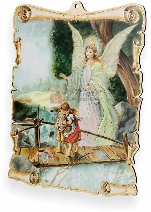 Obrazek pastelowy - Anioł Stróż - dzieci na mostku