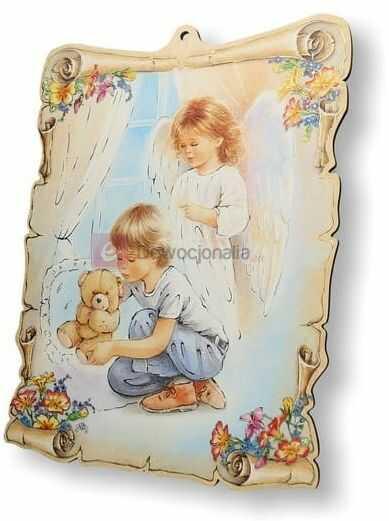 Obrazek pastelowy - Anioł Stróż - chłopczyk z misiem