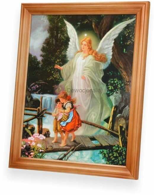 Obraz - Anioł Stróż - dzieci na mostku 27x23