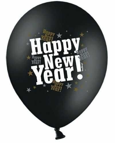 """Balon 14"""" czarny pastel, Happy New Year"""