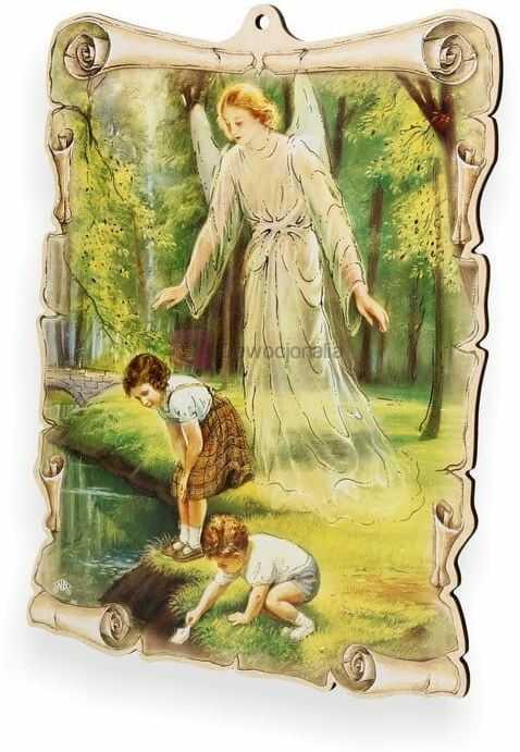 Obrazek pastelowy - Anioł Stróż - dzieci na polanie