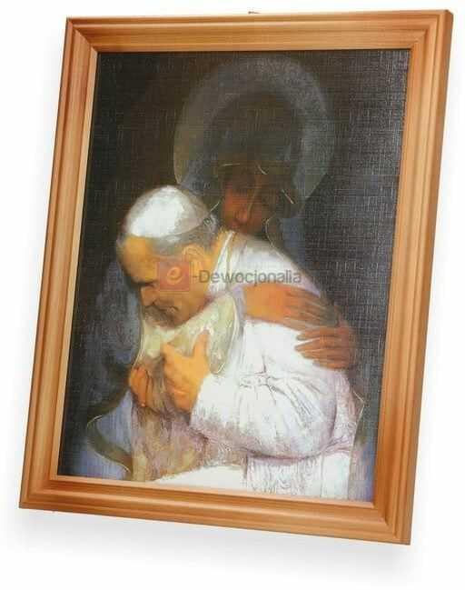 Obraz Jan Paweł II w objęciach M.B 27x23