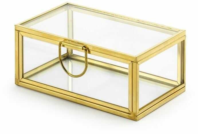 Szklane pudełko szkatułka na obrączki ze złotymi brzegami 1 sztuka PKWS1-019ME