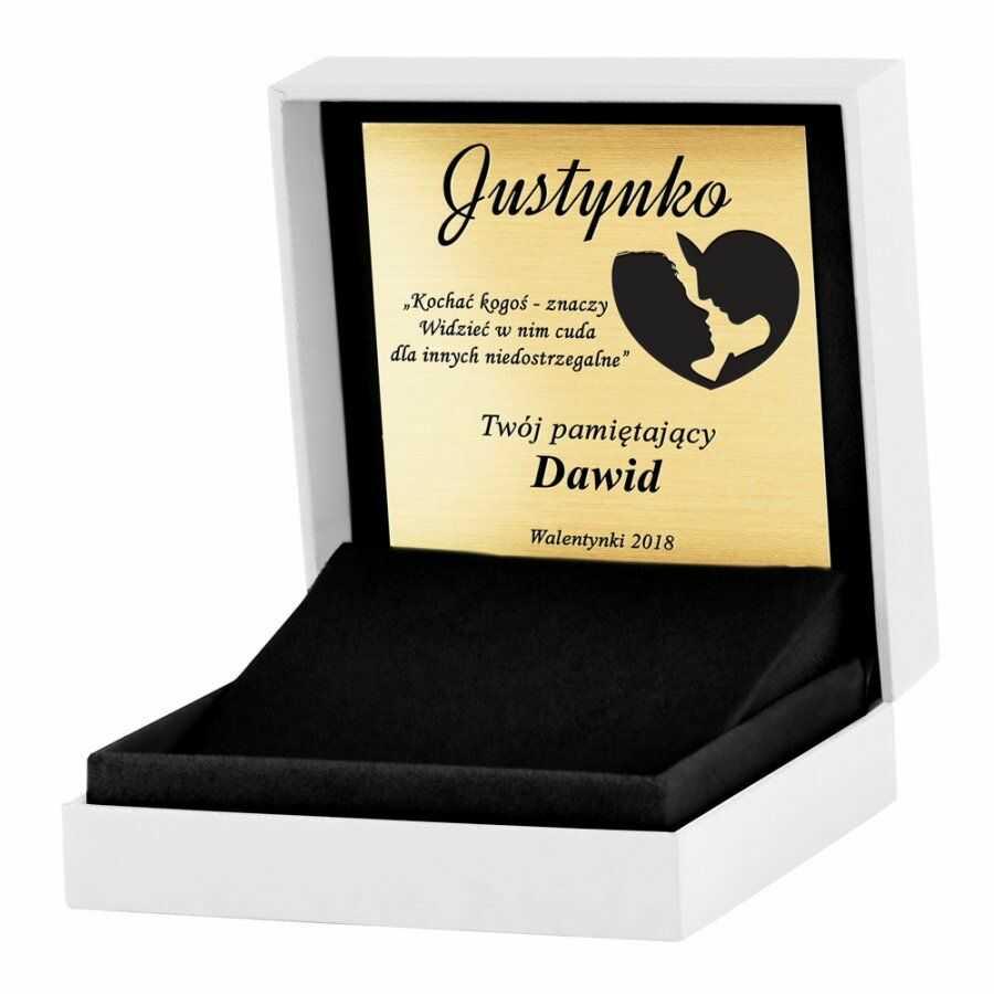 Pudełko białe na biżuterię z logo Murrano i grawerowaną tabliczką