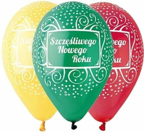 Balony premium Szczęśliwego Nowego Roku 5 szt.