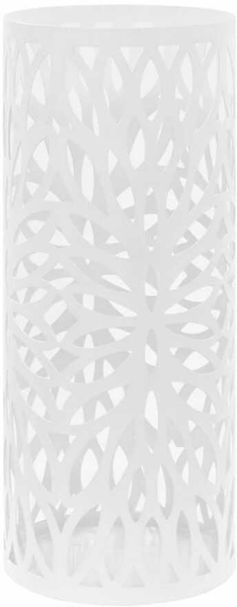 Biały ażurowy metalowy stojak na parasole - Kaspo