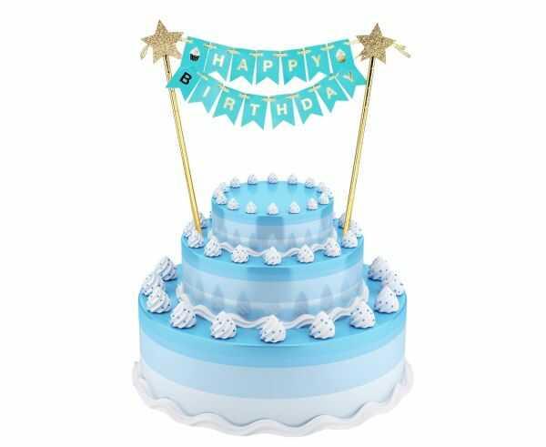 Zestaw dekoracji na tort girlanda Happy Birthday 25cm QT-DHBN