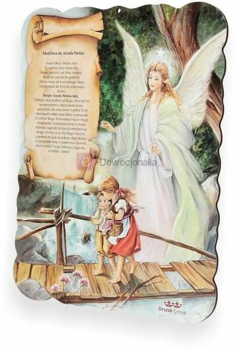 Obrazek pastelowy z modlitwą do Anioła Stróża