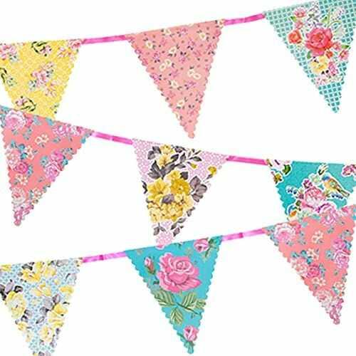Talking Tables Dekoracje na herbatę kwiatowy baner chorągiewki Naprawdę atrakcyjne Idealne na przyjęcie urodzinowe, baby shower, ślub i rocznicę papier, 4 m