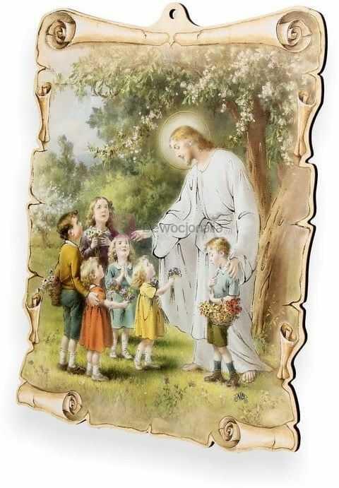 Obrazek pastelowy - Jezus z dziećmi