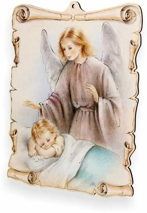 Obrazek pastelowy - Anioł Stróż - przy łóżeczku