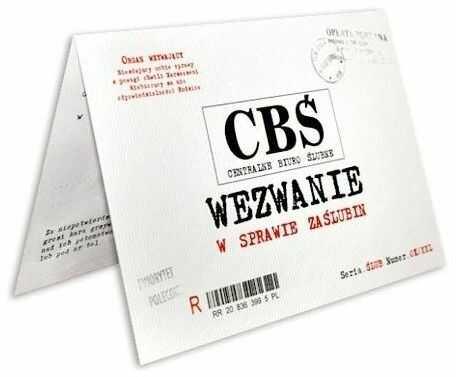 Wezwanie w sprawie zaślubin CBŚ + koperta 1 sztuka ZX9500