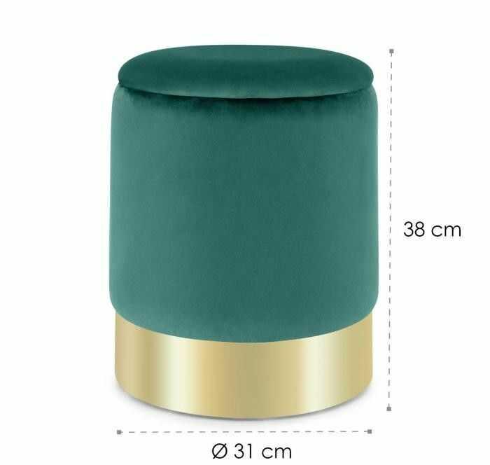 Besoa Gigi, stołek tapicerowany, 38 x 31 cm (wys. x ), schowek, zamsz, zielony