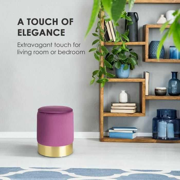 Besoa Gigi, stołek tapicerowany, 38 x 31 cm (wys. x ), schowek, zamsz, fioletowy