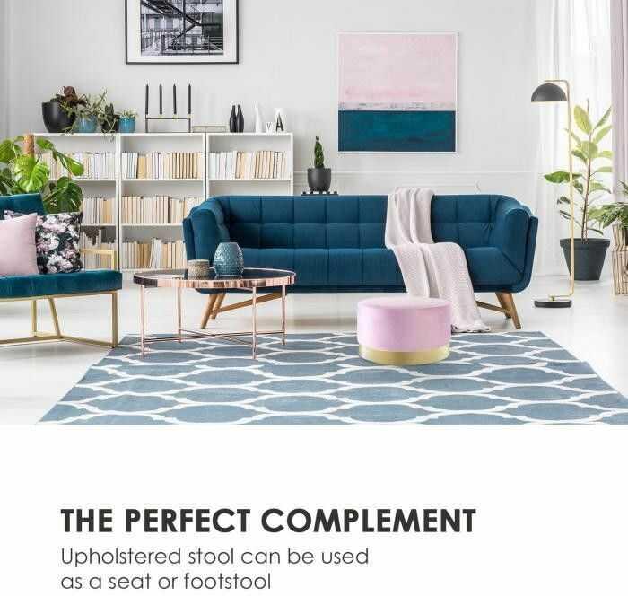 Besoa Bella, stołek tapicerowany, 35 x 50 cm (wys. x ), zamsz, różowy