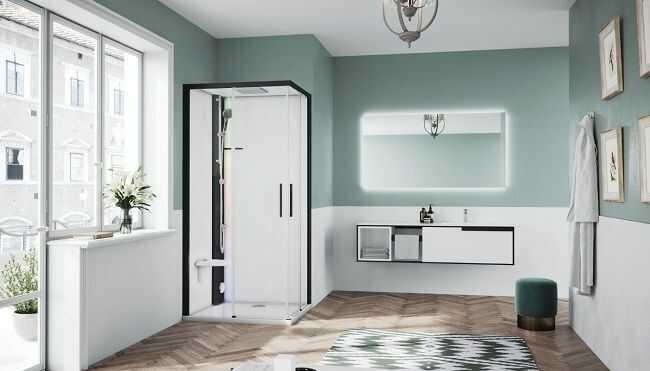 Novellini Glax 1 2.0 kabina z sauna parową 90x70 lewa czarna G21A9070SM5-1HH