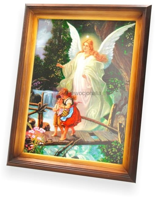 Obraz Anioł Stróż - dzieci na mostku - 47x37