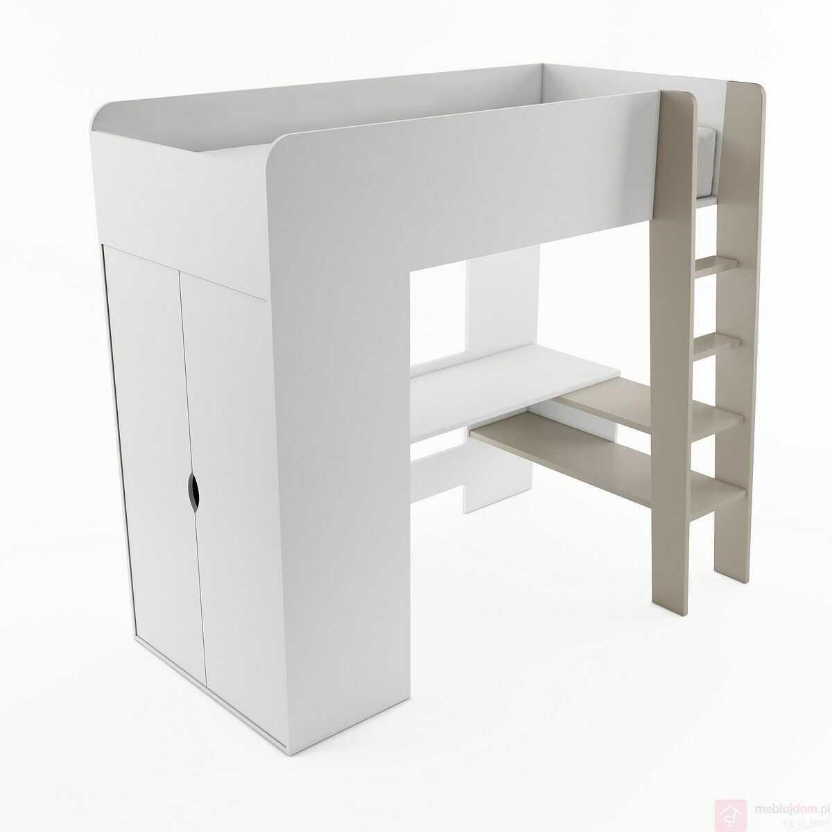 KUPON 10% NA STRONIE  Łóżko piętrowe, biurko i szafa TOM TM-01 Biały + Beż