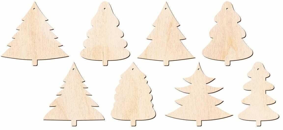 Zawieszki drewniane choinki na Boże Narodzenie - 8 szt.