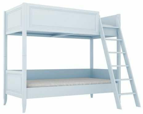 Łóżko piętrowe dekoracyjnie frezowane błękitne