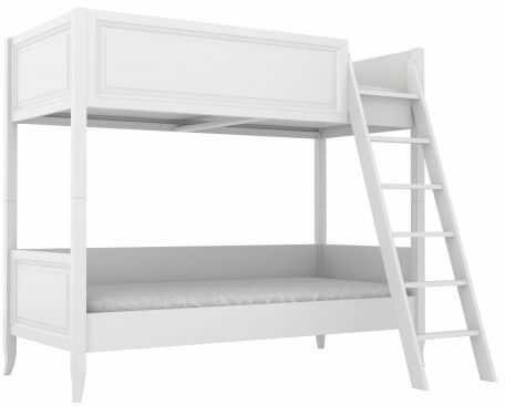 Łóżko piętrowe dekoracyjnie frezowane białe