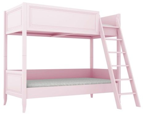 Łóżko piętrowe dekoracyjnie frezowane różowe