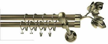 Karnisze Ryflowane Podwójne ELIZA RYFEL 16/16mm antyk mosiądz