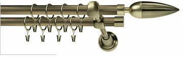 Ryflowane Podwójne Karnisze KAZUR RYFEL 16/16mm antyk mosiądz
