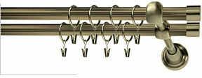 Karnisze Ryflowane Podwójne LUNA RYFEL 16/16mm antyk mosiądz