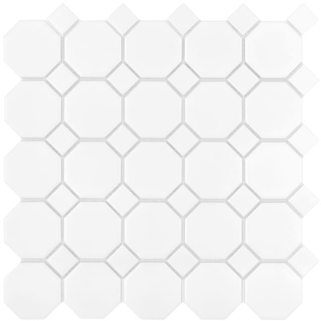 DUNIN mozaika ceramiczna Mini Octagon White 55 matt