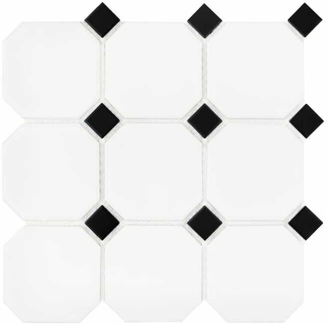 DUNIN mozaika ceramiczna Octagon White 95 matt