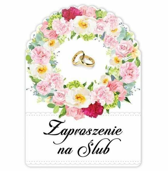 Zaproszenie na Ślub + koperta 1 sztuka zs1014