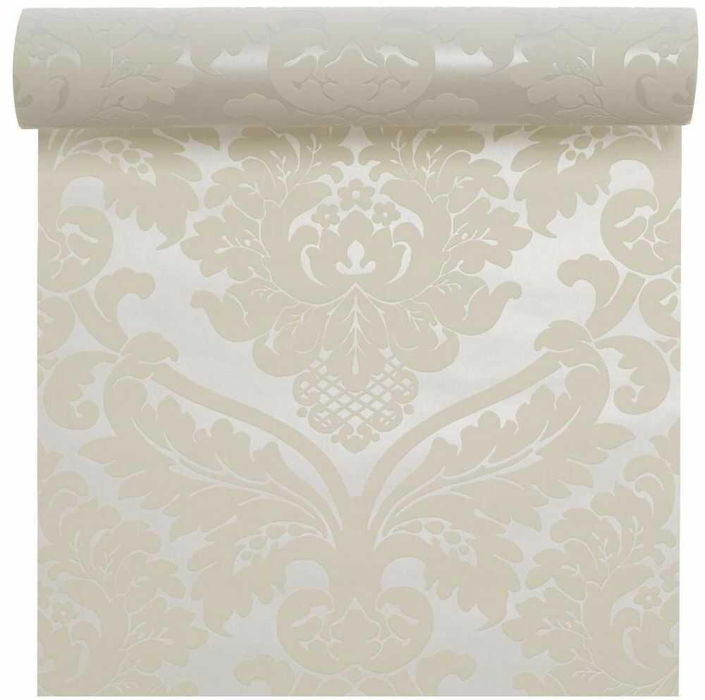 Tapeta Flora biała perłowa winylowa na flizelinie