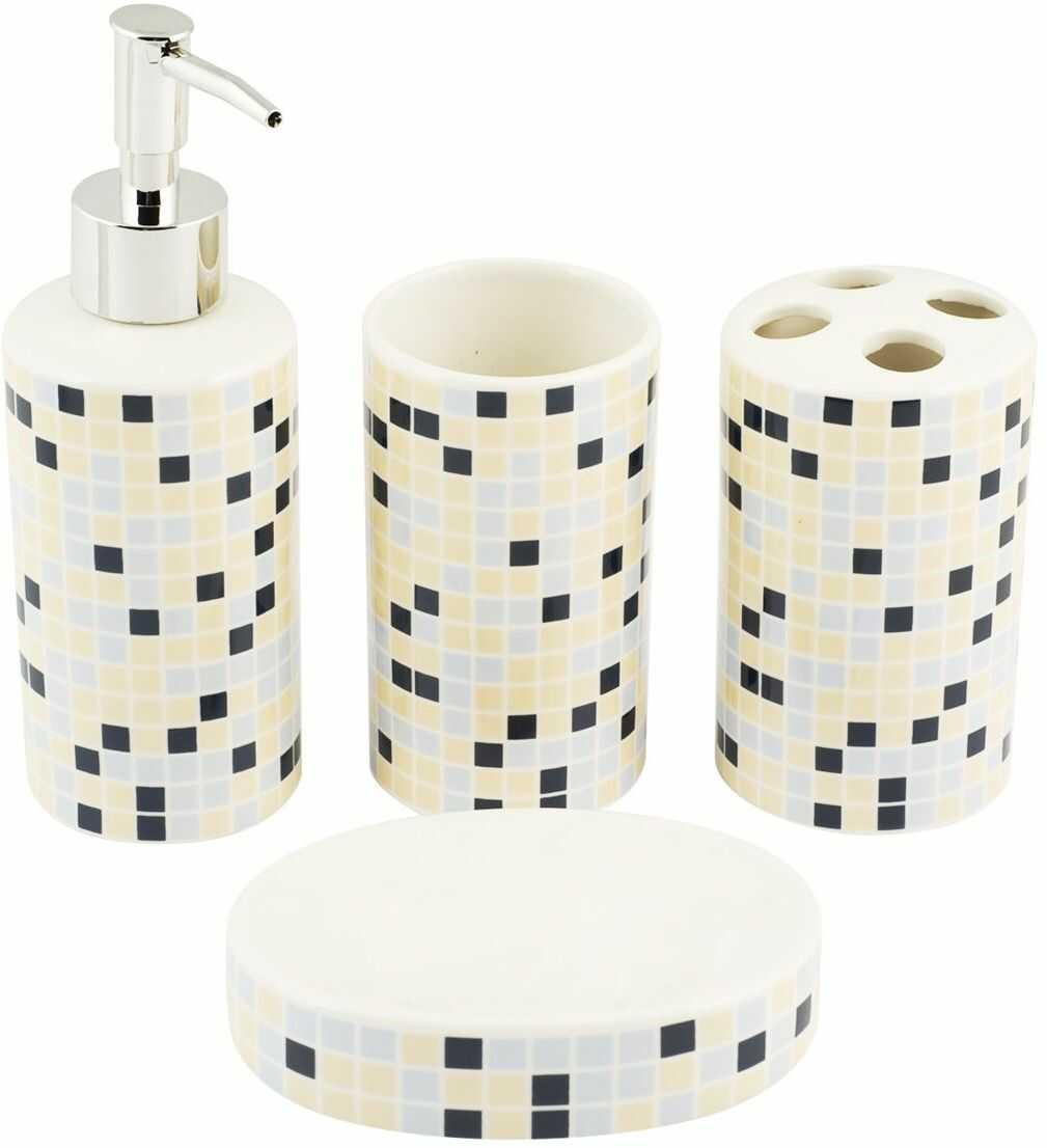 Home Christal zestaw łazienkowy, ceramika, kość słoniowa