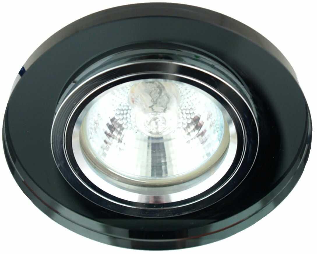 Candellux SS-15 CH/BK 2230491 oprawa do wbudowania oczko sufitowe chrom MR16 szkło czarne min.6,4cm