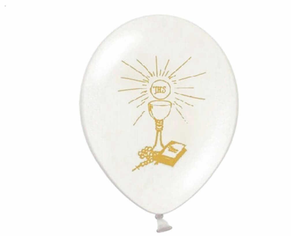 Balony z nadrukiem I Komunia Święta - złote - 6 szt.