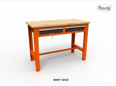 """Stół narzędziowy SWT 12/02 """"DWÓJKA"""" do warsztatu blat drewniany"""