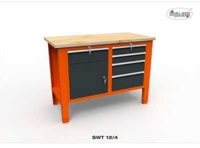 """Stół narzędziowy SWT 12/04 """"DWÓJKA"""" do warsztatu blat drewniany"""