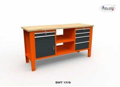 """Stół narzędziowy SWT 17/09 """"TRÓJKA"""" do warsztatu metalowy blat"""