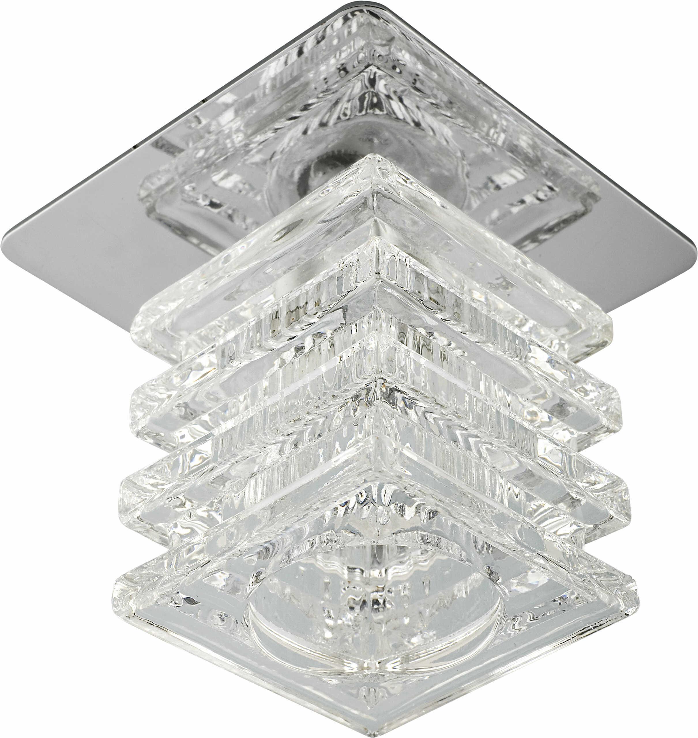 Candellux SK-59 CH/WH 2217805 oprawa do wbudowania stropowa kryształ 20W G4 kostka 8cm