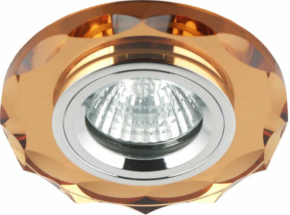 Candellux SS-12 CH/BR oprawa do wbudowania stropowa chrom MR16 okrągła szkło brązowe 6,4cm