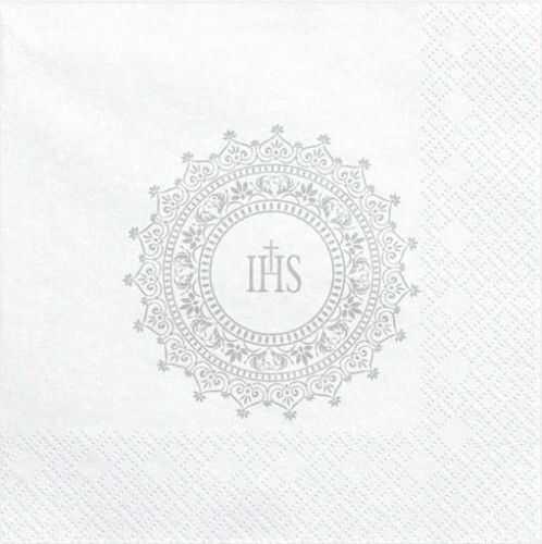 Serwetki Komunijne Srebrny Ornament IHS
